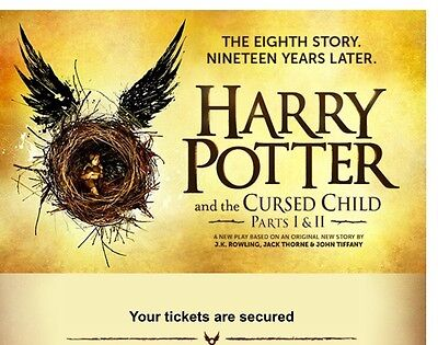 Harry Potter and the Cursed Child play tickets - Wed 22nd Feb - both parts