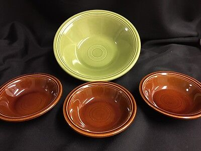 "FIESTA TURF GREEN SALAD 9"" plus three 5.5"" bowls"