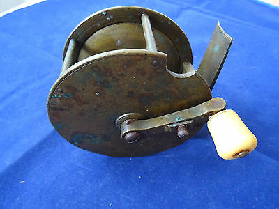 "A Scarce Vintage 3 1/2"" Mid-Victorian Folding Handle Salmon Winch Reel"