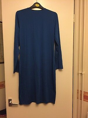 Royal Blue Long Sleeve Bodycon Dress With Back Zip Detail Size S