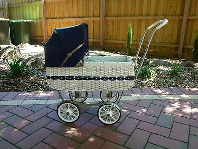 Retro dolls pram with hood, navy & white cane, good condition, collectable,