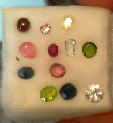 Lot Of 12 Gemstones Including Rare Painite And Forsterite,ruby,sapphires Etc