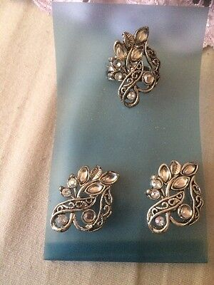 Mothers Day Gift Stunning Vintage Clear Stoned Earrings/Extendable Ring Set BNIP