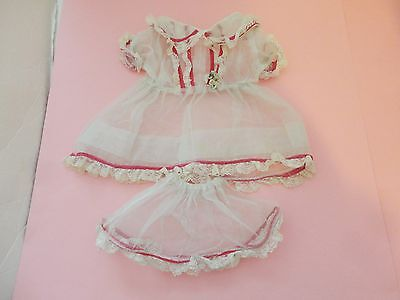 Prettiest Vintage Tulle W Pink Floral Trim Doll Dress & Slip