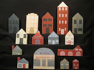 Wooden Town Houses and Buildings Shelf Sitters