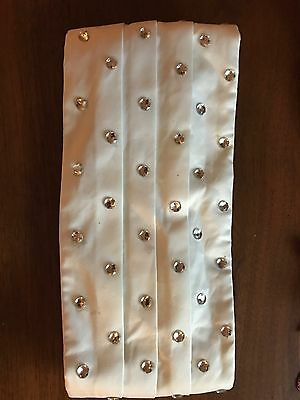 SILK Cumberbund Solid WHITE Bedazzled Color Men's Cummerbund Bow Tie Set