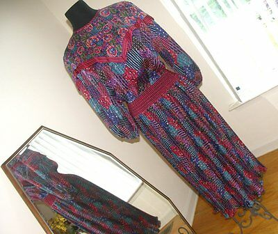 Vintage Diane Freis designer multi-color dress pleated bottom