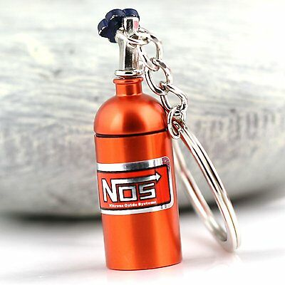Orange NOS Bottle key chain With Container Pocket!