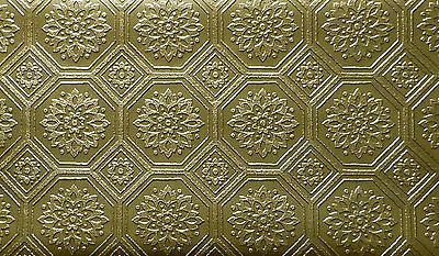 """Dollhouse Ceiling GOLD Wallpaper 4"""" Octagon – 2 Large Shts! DBJ-29 Discontinued!"""