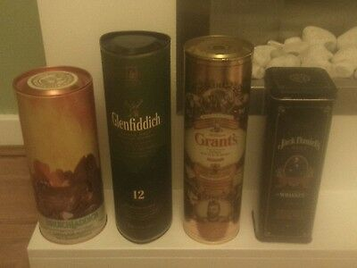 4 Whisky Advertising Tins Glenfiddich Bruichladdich JD Grants Collectables Lot