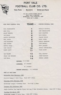 Fa Cup Port Vale V Everton Replay S/sheet 14-Feb-1996