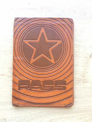 Soviet COVER PASS old vintage LEATHER PASSPORT handicraft