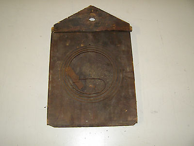 """Antique Coo Coo clock wooden back of case 10 1/4"""" tall to peak by 6 3/4"""" wide"""