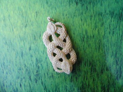 Pendant Necklace Cobra Snake From Buffalo Bone Carved with Silver 925_b273