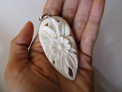 Pendant Necklace Flower From Buffalo Bone Carved with Silver 925_b71