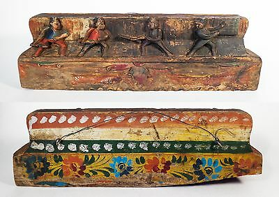 Sicilian Vintage 19Th C Hand-Carved/painted Wooden Donkey Cart Rail Piece Italy
