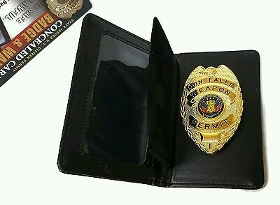 Badge Concealed Carry Weapon Permit  Gold Badge With Leather Wallet