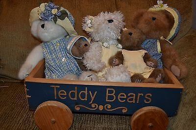 Boyds bears lot of 4 bears with pull cart