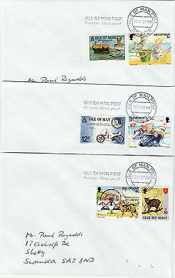 Postcode slogan, Douglas machine on 3 covers with various IoM stamps