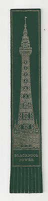 Blackpool Tower. Green Leather English Bookmark.