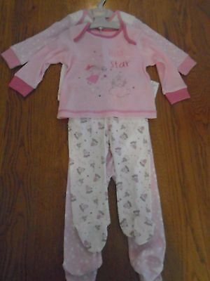 BNWT baby girl 2 pack of pyjamas with built in feet. Matalan. 6-9 months. 1/1
