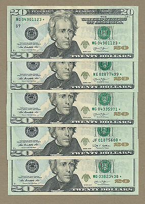 5 $20 Star Notes << 2009, 2013 >> New Uncirculated  << Face Value $100 >>