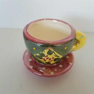 "Mary Engelbreit ME Ink Miniature Tea Cup And Saucer 2"" x 2.5"" Pink Green Yellow"