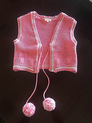 Seed Girls Vest With Poms Poms Size 6-7