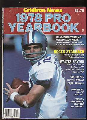 1978 GRIDIRON NEWS Pro Football Yearbook CFL NFL Roger Stubach WALTER PAYTON
