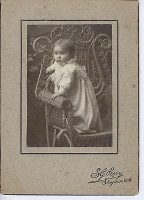 Antique Cabinet Photo  Infant Posing In Awsome Wicker Chair  S. G. Perry Stayner