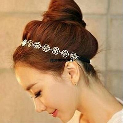 1*Fashion Metal Chain Jewelry Hollow Rose Flower Elastic Hair Band Headband Lady