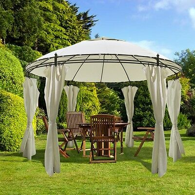 New Round Gazebo with Curtains 3.5 x 2.7 m Durable Powder-coated Steel Frame