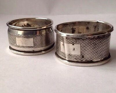 Antique 1955 Pair Of Solid Silver Napkin Rings By H Bros Selling A/F.