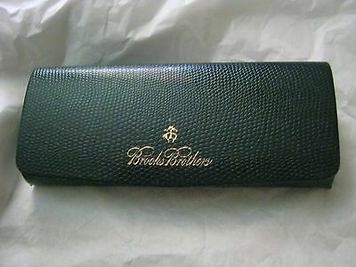 Brooks Brothers navy blue embossed clam shell hard eyeglass case