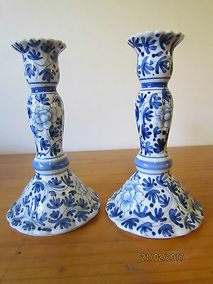 Pair of Vintage Blue & White Ceramic Candlestick holders