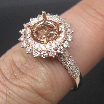 Round Cut 6.5mm Solid 14Kt Rose Gold Natural Full Cut Diamond Semi Mount Ring