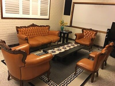 Vintage antique French Louis style leather lounge