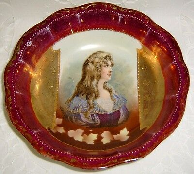 Large Antique German Portrait Bowl with Heavy Gold ~ Three Crown China