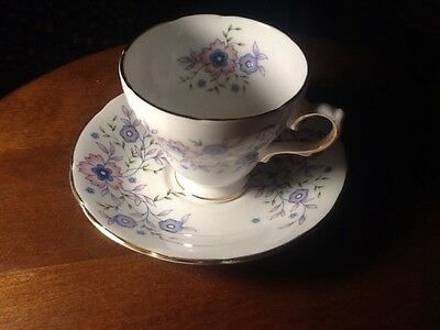 Avon Blue Blossoms Tea Cup and Saucer Set 1974 Fine Bone China Made in England