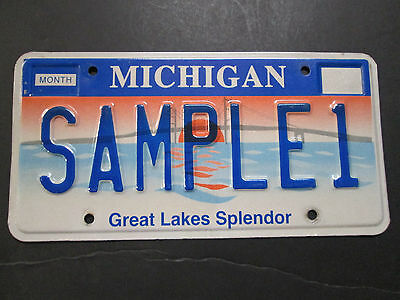1994  MICHIGAN SPLENDOR Sample License Plate. # SAMPLE1.   Different type.