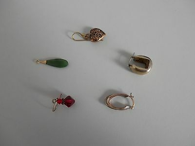 Odd bits of jewellery - single earrings - pendant without chain.
