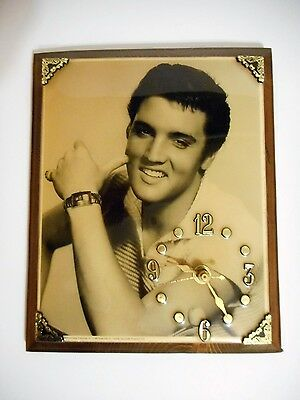 Elvis Presley Wooden Wall Clock 1987 Presley Enterprises USA Works!