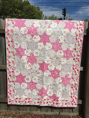 Patchwork Quilt Handmade Cot Size Lap Quilt Pink Flower Roses Nursery Baby Bed