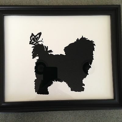 LOOK -- Reverse Painted Silhouette Picture of Cute Shih Tzu
