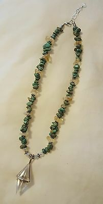 Sterling Silver Turquoise Nugget Prizm Pendant Necklace 19-20 inches Adjustable