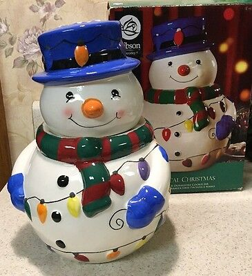"""Snowman Cookie/Treat Jar by Gibson Whimsical Christmas 10"""" New In Box"""