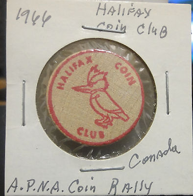 1966 Halifax,Canada Coin Club Wooden Nickel~A.P.N.A. Coin Rally~Combined S.& H.