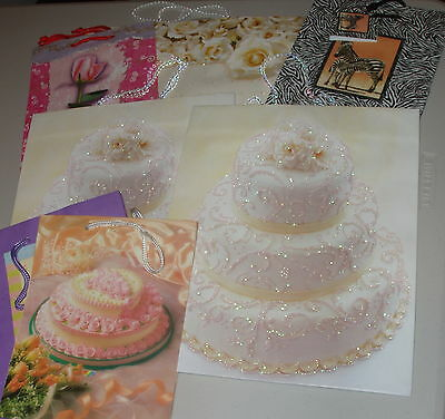 ~~~Beautiful SIX Wedding/variety Gift BAGS ALL SIZES wrapping paper PLUS more~~~