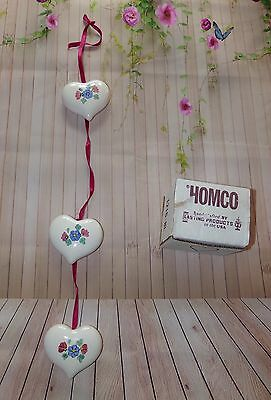 Vintage HOMCO Home Interiors 3 Piece Ceramic Floral Hearts Wallhanging Gift