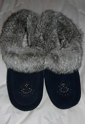 SOFTMOC Womens Cute 3 Navy Blue/ Gray Leather Moccasins with rubber sole & fur 8